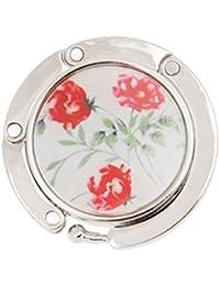 Gancho de Bolso Monedero Cuelgabolso Colgador de Mesa Redondo Plegable Flor Rosa