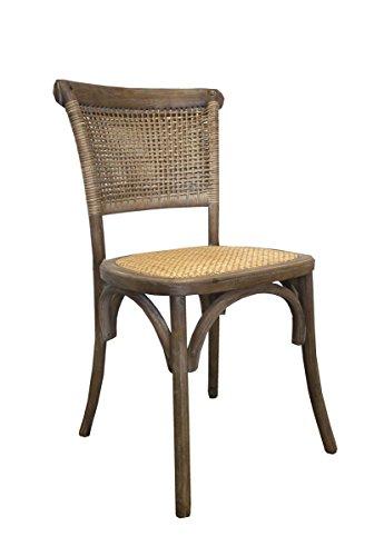 Keyhomestore coppia 2 sedie vintage legno paglia di vienna intrecciata h90x45x50