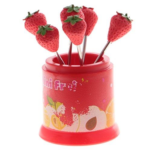 (MagiDeal 6pcs / set Mini Cartoon Obst Gabel Metall Obst Zahnstocher Mittagessen, Obst Muster - Erdbeere, 5,5 x 5 cm)