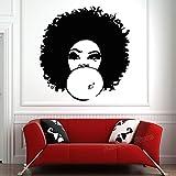 woyaofal Mode Africaine Femme Sticker pour Les Filles Chambre Belle Afro Fille Bouclés Cheveux Salon Tribal Décor À La Maison Stickers Muraux 56x59 cm