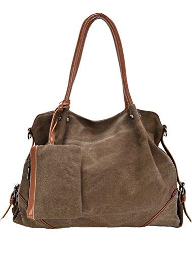 MatchLife da donna Borsa di tela spalla borsa 3Pezzi Set con piccola borsa e borsellino, Cameo (marrone) - CLSL0213-Cameo Coffee