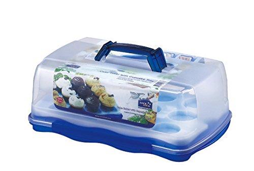 LOCK & LOCK Rechteckiger Kuchenbehälter mit herausnehmbarem Tablett für Törtchen/Cupcakes, 10 Liter