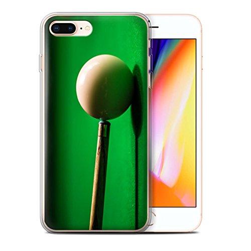 Stuff4 Gel TPU Hülle / Case für Apple iPhone 8 Plus / Blaue Kugel/Rack/Rosa Muster / Snooker Kollektion Weiße Kugel/Kreide