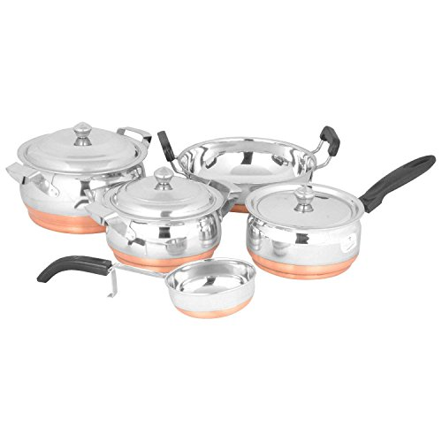 Stainless Steel 5Pcs Cookware Set - Copper Bottom
