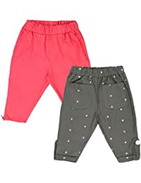Lil Orchids Girls Pack of 2 Casual Knee Length Pant(LO-2PCK-WVN-CPR-CMB-5_Multi Color)