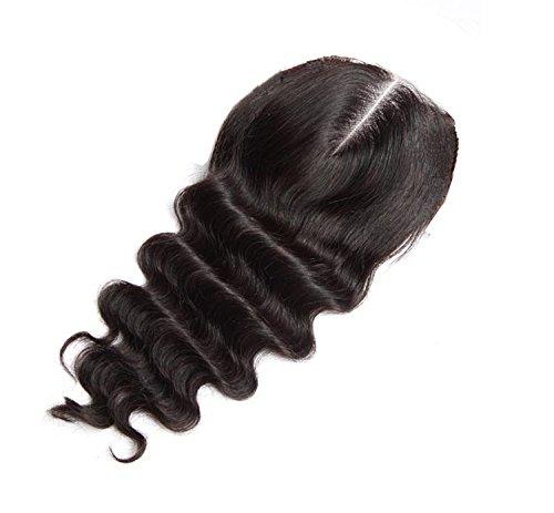 Brazilian Virgin oisk ® non trasformati, con imbianchimento di chiusura con nodi Swiss chiusura capelli veri, colore: nero naturale, 4 x 4
