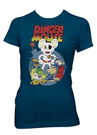 Retro 1980's TV Cartoon Character Dangermouse vintage style Navy Lady Fit t-shirt Large