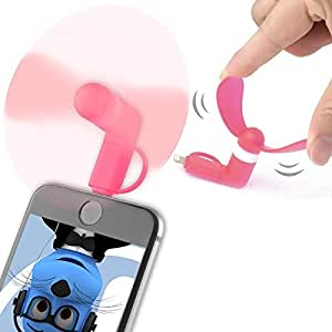 Pink Selfie Pocket Size Mini Fan Accessory with 2 in 1 connector Micro USB and IOS For Samsung I9023 Google Nexus S