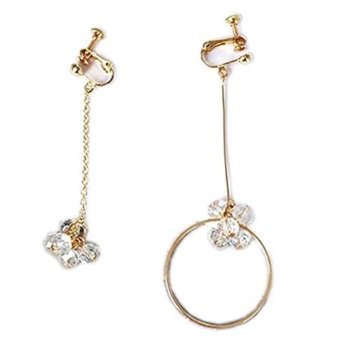 Ohrclips Clip on Ohrringe Asymmetry Ohr für No Piercing Drop Baumeln Kreis Kristall Bead für (Bead Tropfen Baumeln Ohrringe)