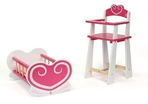 house of toys 775487 poup e ensemble berceau et chaise haute c ur jeux et jouets. Black Bedroom Furniture Sets. Home Design Ideas