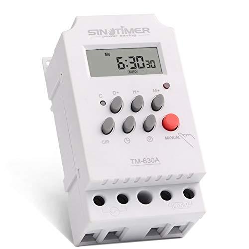 Funnyrunstore SINOTIMER 12V 30A Semanal 7 días Control programable del Temporizador del relé del Temporizador Digital para aparatos eléctricos con Reloj Despertador (Blanco)