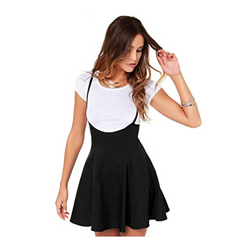 feiXIANG Damen Frauen Schlankes Hosenträger Kleid der Mode schwarz Rock mit Schulterklappen gefalteten Kleid (S, Schwarz)