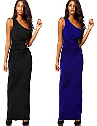 SSITG Schwarz Blau One Shoulder Bodenlang Evening Hochzeit Cocktail Party Ball Abendkleider Gr. 34-42