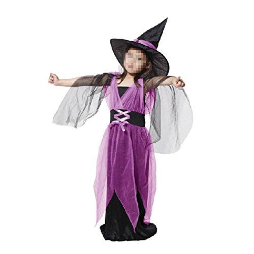 Mädchen Kostüme Kleinkind Hexe (Kleinkind scherzt Baby-Mädchen-Halloween-Kleidung-Kostüm-Kleid-Partei-Kleider und Hexe-Hut 2PCS)