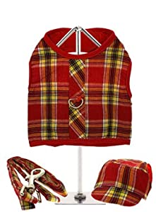 "UrbanPup Red / Yellow Tartan Harness, Lead & Matching Cap (X-Small - Dog Chest Circumference: 10"" / 25cm) from UrbanPup"