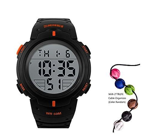HUKOER Outdoors Unisex LED Digital Multifunction Sport Watch Water Resistant (Orange)