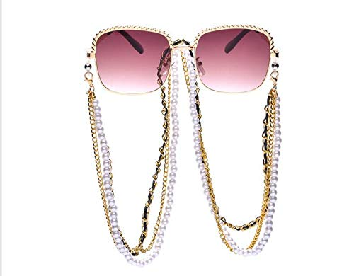 MoHHoM Sonnenbrille,Klassische Perlenkette Sonnenbrille Fashion Wild Square Retro Sonnenbrille Frauen Uv-Schutz Kaffee