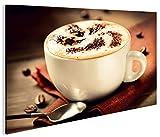 islandburner Bild Bilder auf Leinwand Cappuccino V2 Kaffee Küche 1K XXL Poster Leinwandbild Wandbild Dekoartikel Wohnzimmer Marke