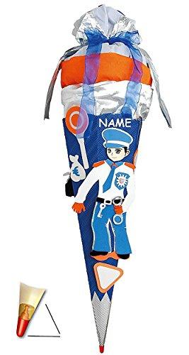 Unbekannt BASTELSET Schultüte - Polizei 85 cm - incl. Namen - mit Holzspitze - Zuckertüte Roth - ALLE Größen - 6 eckig Polizist für Jungen Auto blau