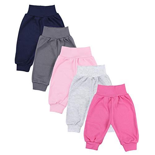 TupTam Unisex Baby Pumphose Jersey Schlupfhose 5er Pack, Farbe: Mädchen 5, Größe: 74