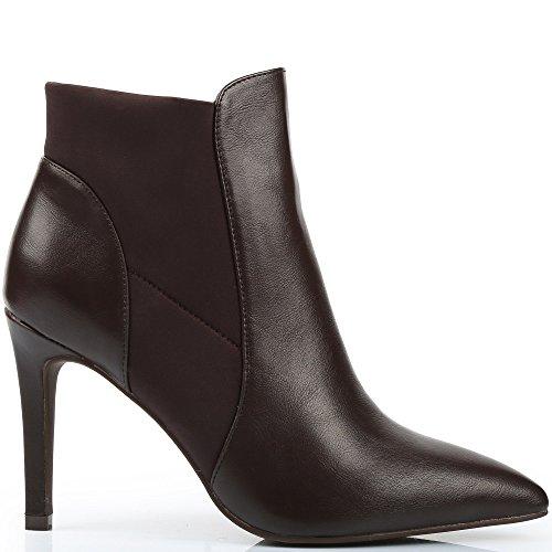 Ideal Shoes - Bottines avec partie élastique Enza Marron