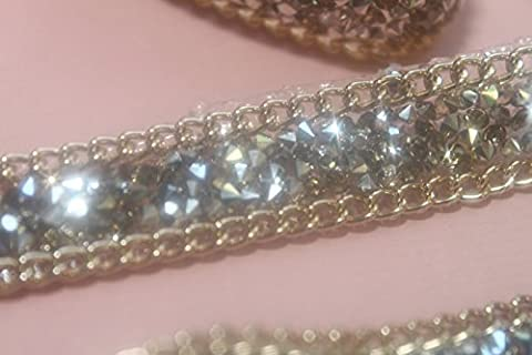 Ruban 40 cm Strass SILVER et Chaine GOLD 15mm hotfix Thermocollant Bling Custom