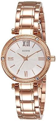 Guess W0767L3 - Reloj con correa de metal, para mujer, color plateado / rojo