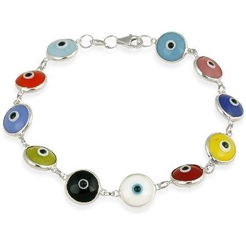 Plata de ley y esmalte Multi Color mal de ojo pulsera 7,5