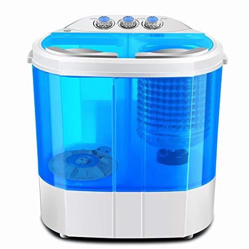 Dawoo Machine à laver portative 220V, mini machine à laver, lave-linge bicylindre transparent (bleu)