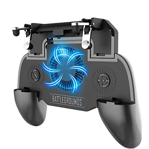 KimTok PUBG Controller Trigger Mobile Gaming with 2000mAh Power Bank and Cooling Fan(Black)