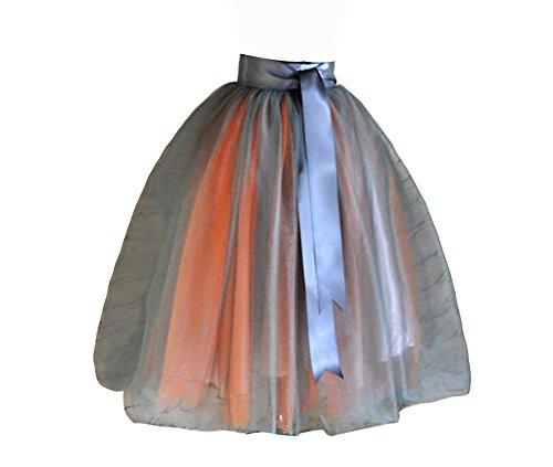 CoutureBridal® Damen Tüll Rock 2 Farben 5 Layer Knielanger Rock Elastic Bund Tutu Orange und Grau