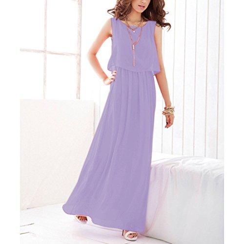 JXLOULAN Womens boho maxi robe en mousseline de soie semi sheer sans manches longue robe plissée purple