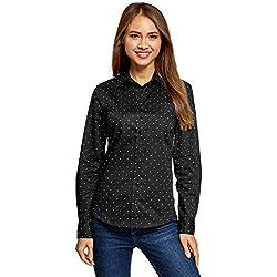 oodji Ultra Mujer Camisa Básica con un Bolsillo, Negro, ES 38 / S