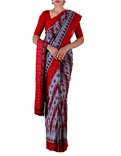 Unnati Silks Women Grey-Maroon Pure Handloom Sambalpuri Cotton Ikat Saree(UNM22072)