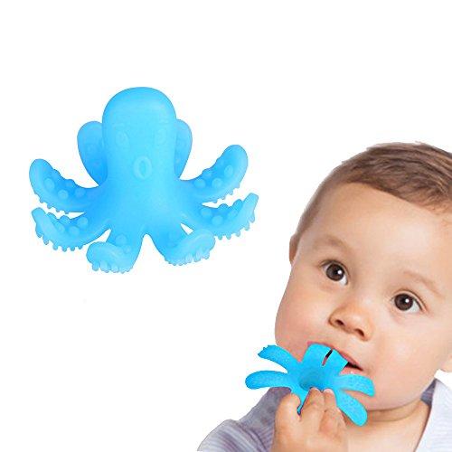 ZOSHING Baby Beißring, Infant Zahnen Spielzeug, Lebensmittelqualität Silikon Baby Octopus Beißring Octopus Zähne Spielzeug, Silikon Baby Octopus Beißring & 100% BPA-freie Silikon. (Himmelblau)