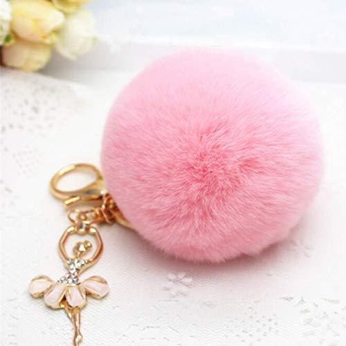 ZuanYin Funktionelle Ballerina Gold Schlüsselanhänger, Auto Zubehör kann auch als eine weibliche Tasche Anhänger verwendet Werden(None Pink)