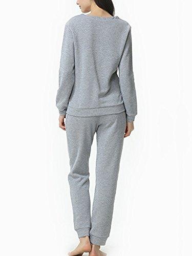 Ensemble de Pyjama Femme - Haut à Manches Longues et Pantalon Gris