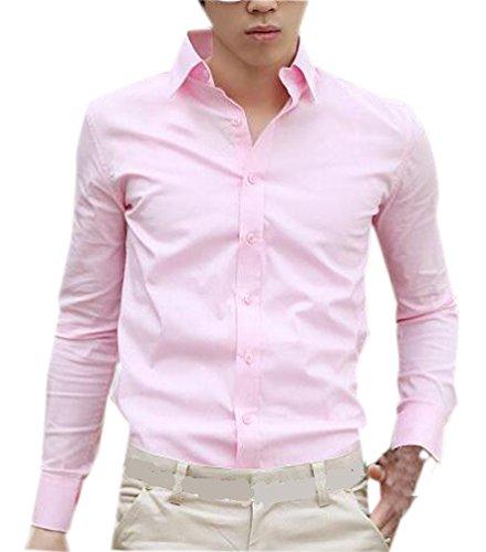 Fuxiang camicie uomo slim fit maniche lunghe casual camicia abito camicia affari top classiche formale camicetta shirt moda men colore puro shirts rosa 2xl