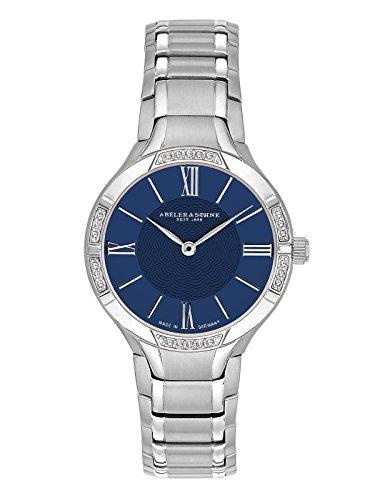 Abeler & Söhne fabricado en Alemania–Reloj de pulsera para mujer con correa de acero inoxidable, cristal de zafiro y Circonia as3166
