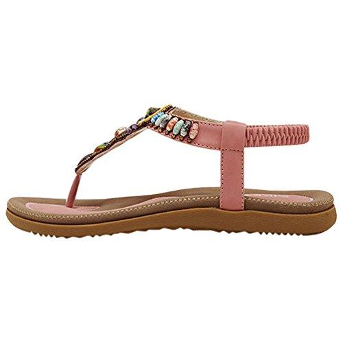 YOUJIA Sommer Bohemia Mode Flach Flip Flops Bequem Damen Sandalen 35-42 Pink