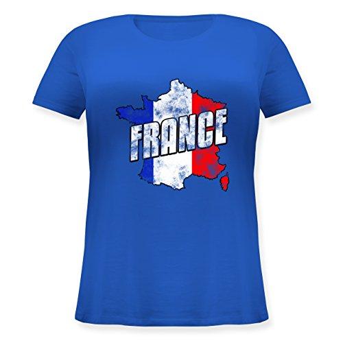 EM 2016 - Frankreich - France Umriss Vintage - Lockeres Damen-Shirt in großen Größen mit Rundhalsausschnitt Blau