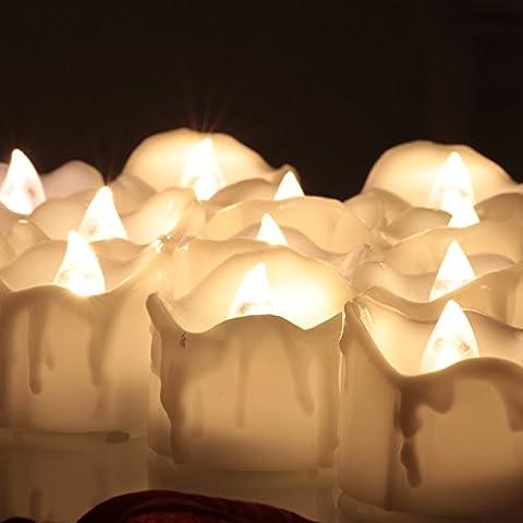 OMGAI 24pcs Pile Timer Luce Del Tè LED Con Timer Tremolanti Candele Senza Fiamma Per La Festa Nuziale Di Natale Capodanno Decorazione Bianco Caldo