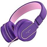 AILIHEN I35 Cuffie per bambini con microfono Cuffie per ragazzi pieghevoli da 3,5 mm per telefoni cellulari da scuola per ragazzi- rosa viola