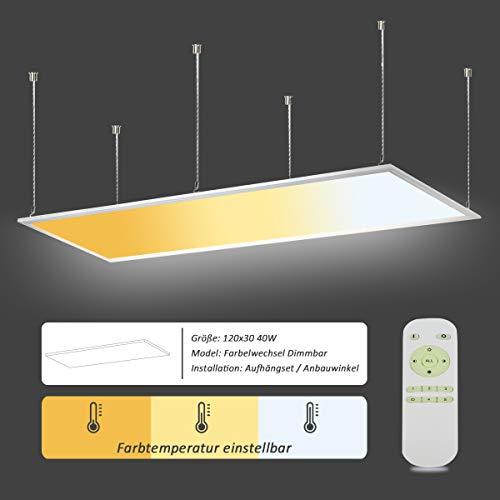 OUBO Deckenlampe LED Panel Deckenleuchte Farbwechsel Pendelleuchte dimmbar 2700-6500K 40W 3200lm mit Fernbedienung Seilaufhängungen Küchenlampe Wandleuchte