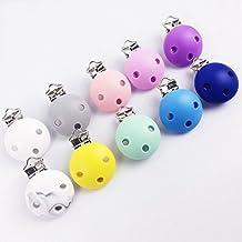 Clips Chupete de silicona Mordedor de silicona Clip Mordedor 10pc BPA color sólido Sensoriales Juguetes para bebés de silicona Accesorios para el bebé Juguetes Teether