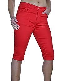 ICE (1518-3) Pantacourt en Jeans Moulant Extensible et Brillant à Revers Rouge