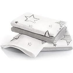 Muselina bebé algodón - 4 Ud., 70x70 cm, estampado estrellas | Tejido doble con bordes reforzados, lavable a 60°, certificado OEKO-TEX | Paños de gasa color gris - blanco