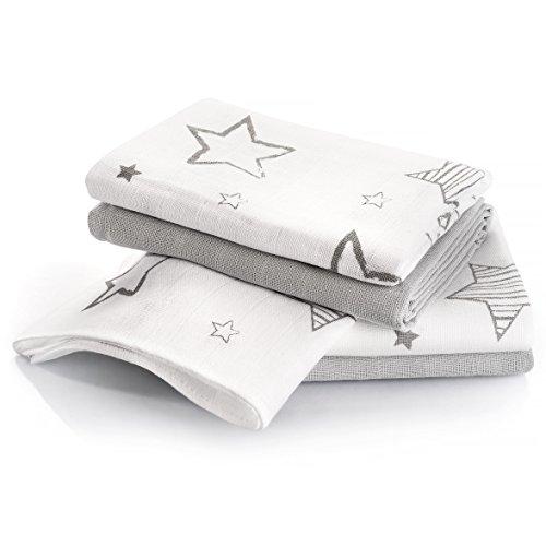 Langes bébé mousseline | Lot de 4 | 70 x 70 cm | Qualité supérieure - Coton doux, absorbant, double tissage, bordure renforcée - Motif étoiles gris - certifié Oeko-Tex Standard 100, lavable à 60° C