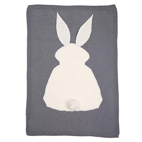 3 Handgefertigte Wolle Teppiche (Baby Stricken Wolle Kaninchen Bunny Decke handgefertigt gehäkelt Sofa Beach Quilt Teppich grau)