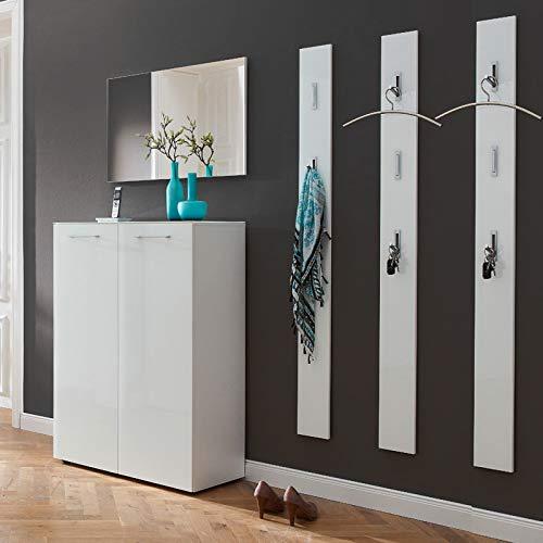 Lomadox Garderoben-Flur-Set - 5-teilig - Glasfront weiß - inkl. Schuhschrank - Türdämpfung